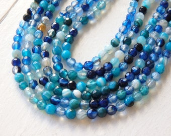 """4mm Blue and Turquoise agate beads - faceted round agate beads in a range of blue, turquoise and teal shades - 14.5"""" strand, gemstone beads"""