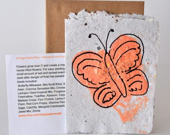 Single Hand Made Recycled School Paper Seed Card will attract Monarch Butterflies, Hummingbird and Songbirds with this special seed mix.