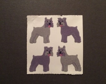 Sandylion vintage rare fuzzy schnauzer dog stickers