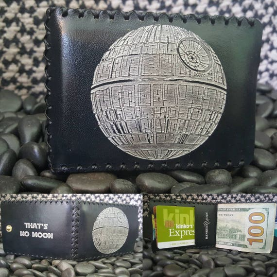 Death Star That's No Moon Bifold wallet made from Premium English Bridle leather.