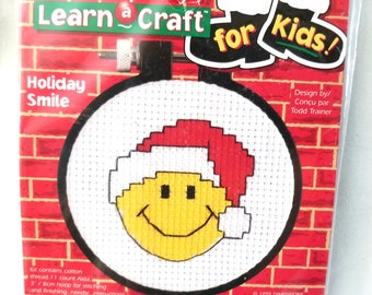 Learn a Craft, kids, Holiday Smile, Easy cross stitch kit, fabric, embroidery thread, 72592, Gift Giving, Vintage Gift Idea