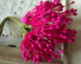 Vintage Millinery / Floral Pips-Peps Flower Centers / Matte Hot Pink / Stamens / Bunch of Twelve Stems / Flower Making Supplies