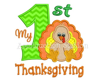 My 1st Thanksgiving Zoo Baby Turkey Applique Machine Embroidery Design first harvest Fall INSTANT DOWNLOAD