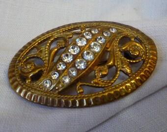 Old vintage silver brooch with brilliant - cut vintage pin