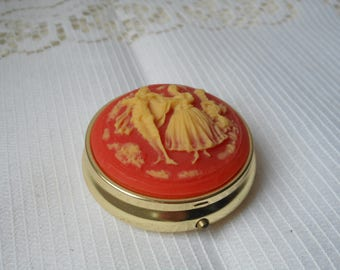 stunning vintage French metal pill box / trinket box collectible