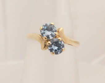 Ladies Round Cut Blue Birthstone 10K Yellow Gold Ring