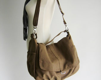 Canvas messenger handbag ,Sahara brown Diaper bag for her,cross body bag,woman shoulder bag /Sale 25% / no.18 -DANIEL