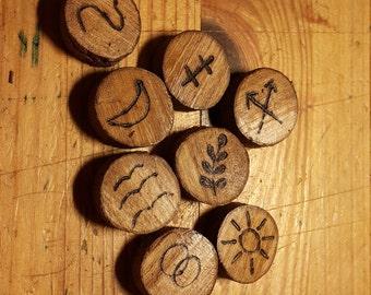 Runes made from Rowan tree. Divination tool