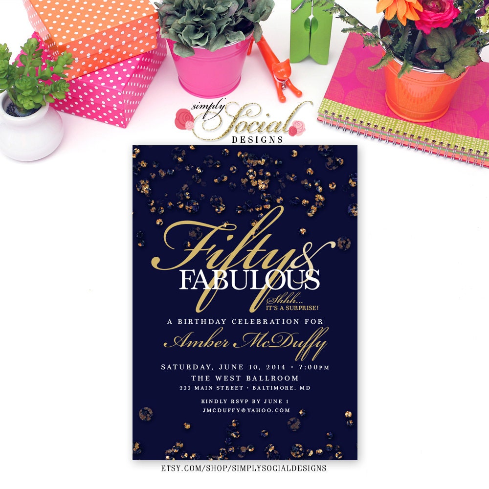 Sapphire Confetti Birthday Invitation Surprise 60th 50th 40th