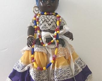 Vintage Black Doll with Fruit Headdress