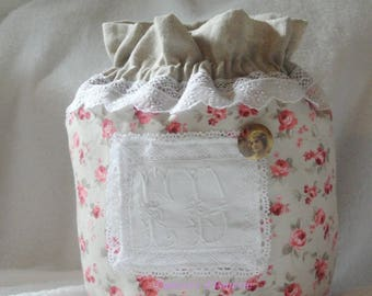 romantic lace and fabric pouch