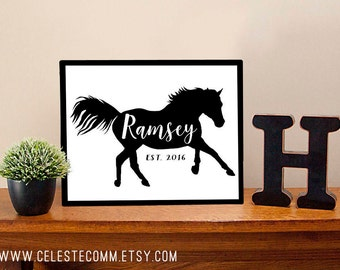Personalized Horse Family Last Name Sign - Ranch Farm Stable Equine Farmhouse Metal Sign Wall Art Print