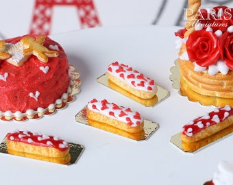 White French Eclair with Red Hearts - Individual French Valentine's Pastry - Miniature Food