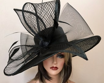 2017 collection.Black wide brim hat! Fashion Hat, Kentucky Derby hat, Royal Ascot hat, , Couture hat, Breeders cup hat