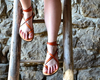 Orange Women Sandals, leather sandals, barefoot sandals, flat sandals, strap sandals, adjustable sandals, comfort sandals