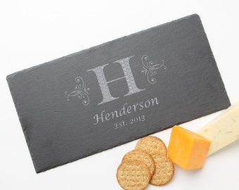 Personalized Slate Cheese Board, Custom Engraved Slate Cheese Board, Monogram, Personalized Serving Board, Personalized Wedding Gifts D2