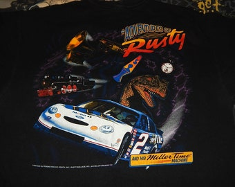 Adventures Of RUSTY WALLACE in his Miller Lite Time Machine vintage NASCAR shirt - sz xl - 1990s tee