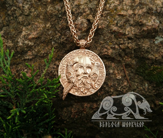Gold odin with ravens gold 18k viking pendant viking amulet aloadofball Gallery