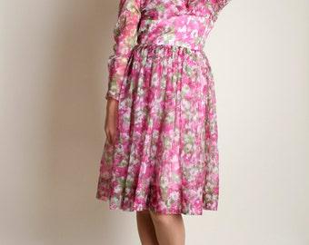Vintage 1960s Floral Dress - Hot Pink Magenta Sheer Chiffon Party Dress - Flower Print - XS
