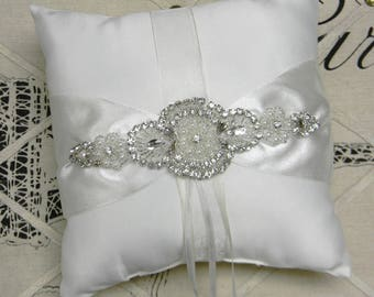 Ring Bearer Pillow, White or Ivory Ring Bearer Pillow, Pearl and Crystal Rhinestone Satin Wedding Ring Pillow, Vintage Wedding Decorations