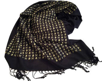 Bitcoin Scarf, Cryptocurrency fringed linen-weave scarf. Bitcoin trading, blockchain gift, finance gift, internet money, digital currency