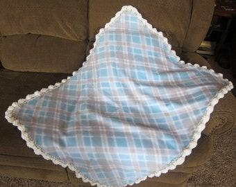 Baby Gift Blue Gray Fleece Baby Boy Toddler Car Seat Stroller Nursery Blanket Crochet