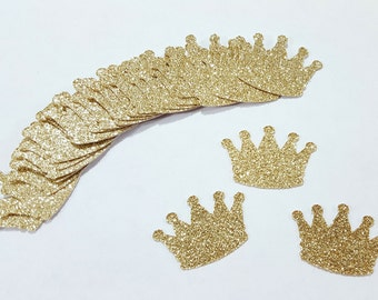 25 Gold Glitter CROWNS Confetti | Princess Party Decorations | 1st Birthday Party Decor | Little Prince Decorations | Baby Shower Decoration
