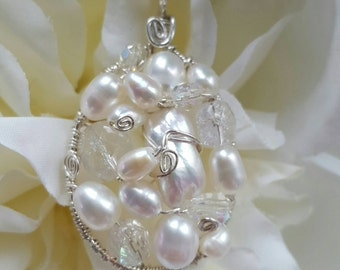 PENDANT Crystal Pearl Wire wrapped Sterling Silver Oval Pendant