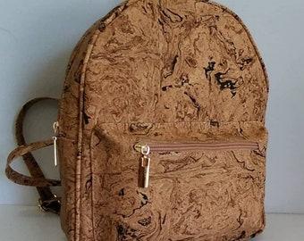 Natural Cork Backpack with Designs - Cork Handbag - Cork Bag - Eco-friendly Material