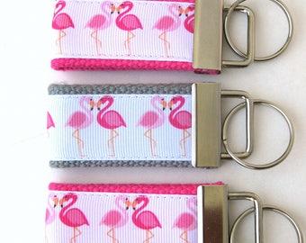 Flamingo Keychain- Wristlet Key Fob- Womens Key Chain for Her- Womens Key Fob- Wrist Keychain- Womens Gift Under 10- Flamingo Gift for Her