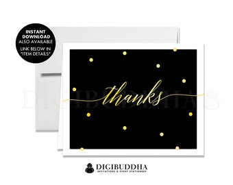 Black & Gold THANK YOU CARDS Calligraphy Gold Dots Folded A2 Note Card Wedding Bridal Shower Graduation Faux Gold Foil Notecard - Casy