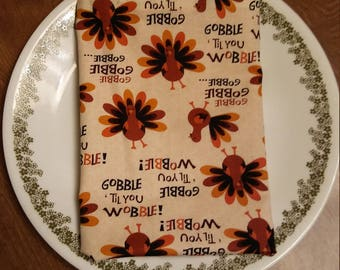 Thanksgiving Turkey Cloth Napkins. Set of 8