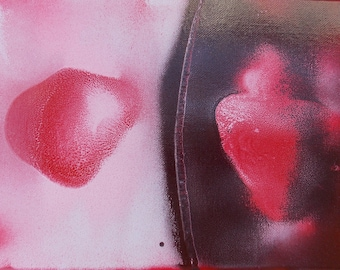 Rhodonite #1 Crystal Healing Energy Art Original Abstract Spray Paint Spiritual Painting on Stretched Canvas 9x12