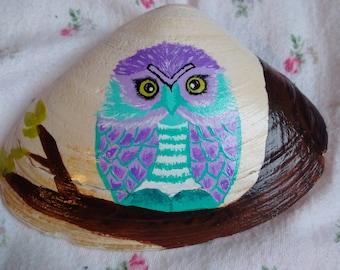 Hand painted owl seashell