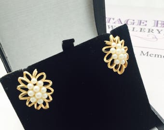 1960's Faux Pearl Earrings