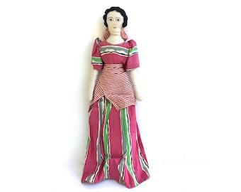 Vintage Folk Art Rag Doll~ Lovely Handmade doll in Colorful dress~ Primitive Cloth doll