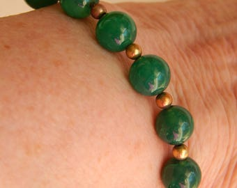 Green Jade Bracelet with Gold Filled Beads