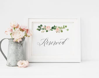 Printable Reserved Sign, Card, wedding ceremony decor, reserved seating wedding signage, DIY Wedding Party Sign, Wedding Signage #MG001