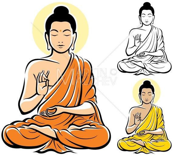 buddha vector cartoon clipart illustration buddhism zen rh etsy com image bouddha vector buddha vector free download