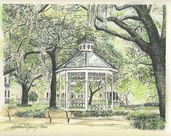 Whitefield Square Savannah - Hand Watercolored Print