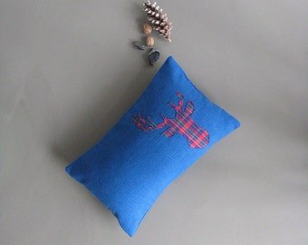 blue lumbar cushion pillow cover with stag deer antler silhouette - lodge cabin rustic home decor cushion cover - lumbar pillow