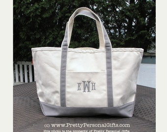 Gray Tote Bag Monogrammed - LARGE Personalized Canvas Tote Bag in gray