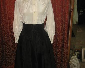 """1950's, 28"""" waist, high waist black silk faille skirt"""