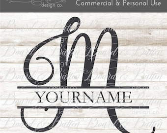 M Split Monogram SVG - Split letter M SVG - Divided Initial svg - Commercial Use svg Files - wood sign svg - stencil svg downloads SPM2