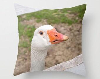 Goose Pillow Cover, Animal Accent Cushion Case, Handmade in Canada, Rustic Farmhouse Decor, Ranch House Accent, Farmer Birthday Present