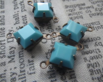 Turquoise Vintage Swarovski Square 8x8mm Glass Brass Ox Connectors Two Loops 4 Pc