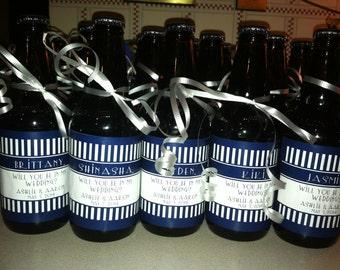 Wedding Groomsman Beer Bottle Labels - Whiskey Labels - Custom Will you Be My Groomsman - Best Man Bottle Labels