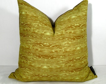 """Sale - Faux Bois Pillow Cover, Decorative Lime Green Throw Pillow, Dewberry, Masculine Wood Grain, Chocolate Brown, Cushion Cover, 18"""""""