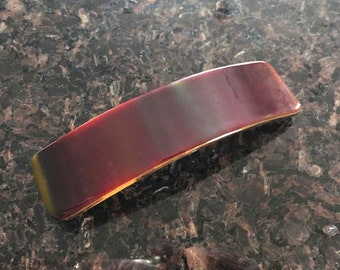 Barrette Hair French Clip, Dark Red and Gold Art Glass, Large