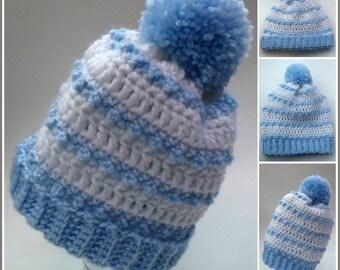 Baby Striped Hat ~ Crochet Pattern